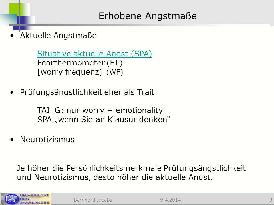 Erhobene Angstmaße Aktuelle Angstmaße Situative aktuelle Angst (SPA) Fearthermometer (FT) [worry frequenz] (WF)